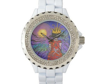 Courage Girl Wearing Crown Original Art Watch