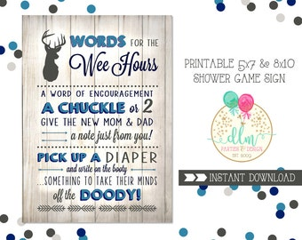 Baby Shower Game Sign, Words for the Wee Hours, Words of Wisdom, Little Buck, Deer Baby Shower, Diaper Advice, Diaper Game, INSTANT DOWNLOAD