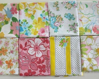 Vintage bed sheet Fat Quarter set 8 reclaimed bed linen fat quarters quilting fabric bundle pink yellow orange Spring Summer rose floral