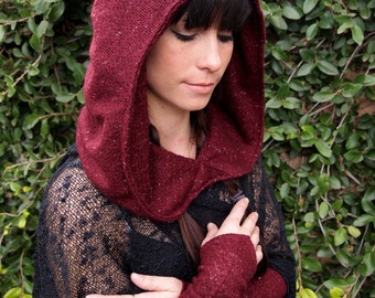NEW The Sweater Knit Ruched Hood in Burgundy Red Sparkle by Opal Moon Designs (One Size Fits all)