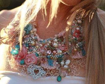 wedding shabby chic necklace beaded necklace, boho beaded flower neckpiece,  textile necklace, beaded bib necklace