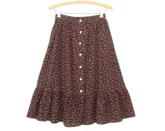Vintage Ruffle Skirt * 70s Calico Midi Skirt * Prairie Skirt * XS