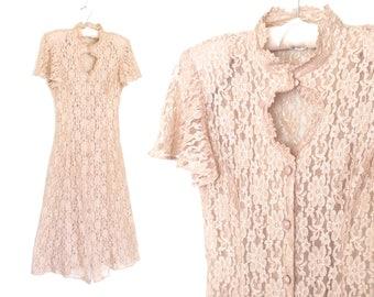 Vintage 90s Dress * Lace Maxi Dress * Gothic Dress * Lace Dress * Medium - Large