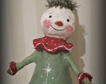 Snowman paper mache  folk art OOAK art doll