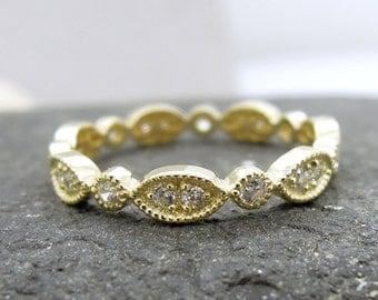 Eternity Engagement ring, 14K Yellow gold, wedding band, man made diamonds