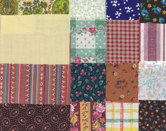 Fabric Precut 3 1/2 Inch Square Pieces, 80 Cotton Material Ready 4 Charm Quilting, Piecing, Scrapbooking, Miniature Projects,Variety Pack 1
