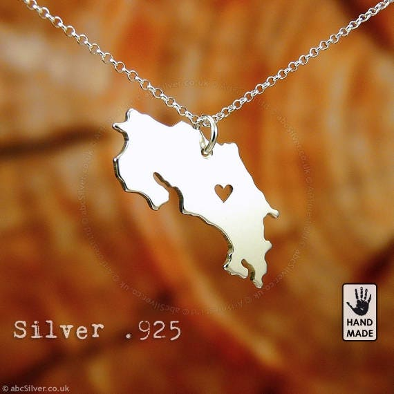 COSTA RICA Handmade Personalized Sterling Silver .925 Necklace in a gift box