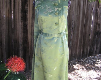 Vintage 1950's GEORGEOUS Beaded Silk Embellished Sleeveless Dress with attached Belt and Cape - Asian Inspired - Hand Sewn Lining