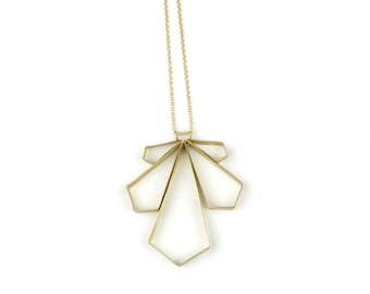 Necklace - Wing Large Angled Wingspan Necklace - Brass