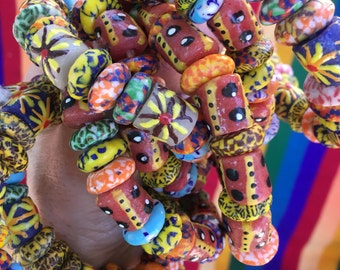 Colorful Recycled Glass Beaded Bracelets From Ghana Africa - 14mm Beads - Jewelry Making Supply