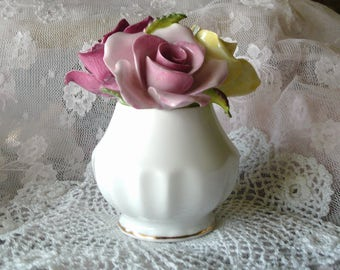 Porcelain Flower Figurine, Rose Bouquet, Flowers in Vase, Colorful, 'Queens' made in England Est. 1875-Rosina, Vintage China