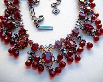 OSCAR DE La RENTA Vintage Necklace Haute Couture Ruby Red Rhinestones Red Glass Beads