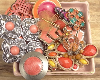 Vintage Jewelry Destash Lot. Orange, Pink, Turquoise Charms, Findings. Gypsy Boho, Black, Gold, Silver, Tone, D90