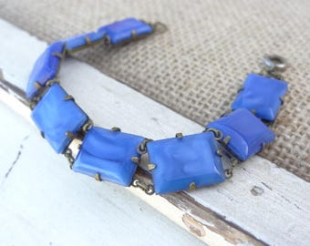 Art Deco Czech Blue Glass Bracelet, Marbled Blue Glass Link Bracelet made in Czechoslovakia. Emerald Cut Stones