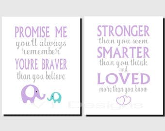 Kids Wall Art, Purple, Gray, Aqua, Girl Nursery, Toddlers Room Decor Elephant, Promise Me You'll Always Remember, Set of 2, Prints or Canvas