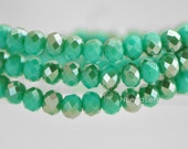 Crystal Glass Rondelle Faceted beads 4x6mm, Sparkly Opaque Green Coffee -(BZ06-141)/ 95pcs