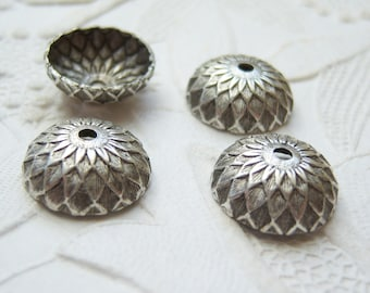 Antiqued silver 12mm acorn  bead caps, lot of (4) - VR200