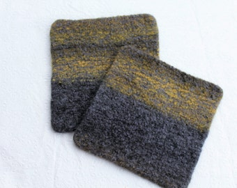 Set of Large Gray Yellow Felted Wool Trivets Pot Holders, Charcoal Gray Yellow Wool Hot Pad Set, Knit Felted Trivet Set, Wool  Pot Holder