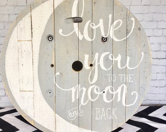Nursery Wall Art|Farmhouse|Baby|Industrial|Love You to the Moon