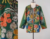 Vintage 70s embroidered Indian jacket / chain stitched embroidery / Bohemian tribal jacket