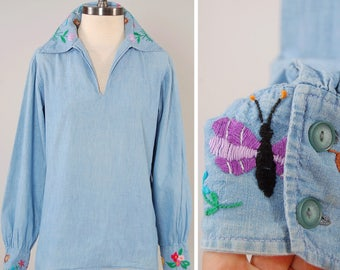 Vintage 60s 70s EMBROIDERED chambray pullover / Hand embroidered at cuffs and collar / Super soft and perfectly worn in