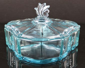 Fostoria, Baroque No. 2496, Azure Blue, 3 Part Candy Dish with Lid