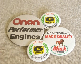 Vintage Advertising Buttons, Collection, Group, Lot, Promotional, Jewelry, Mack Trucks, Bull Dog, Onan Engines, Transportation, Brooch, Pin