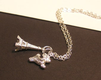 Tiny Silver Eiffel Tower with Birth Animal Sterling Silver Necklace
