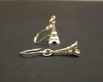 Minimalist Eiffel Tower Sterling Silver Earrings