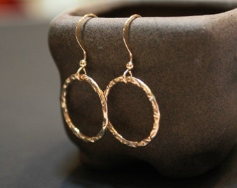 Circle Textured Minimalist Gold Filled Earrings