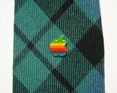 Vintage Gold Tone Rainbow Apple Computers Tie Tack
