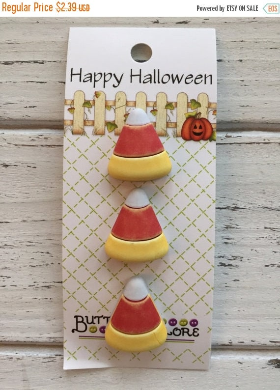 SALE Candy Corn Buttons, Carded Set of 3 Novelty Buttons by Buttons Galore, Halloween Collection, Shank Back Buttons, Sewing, Crafting