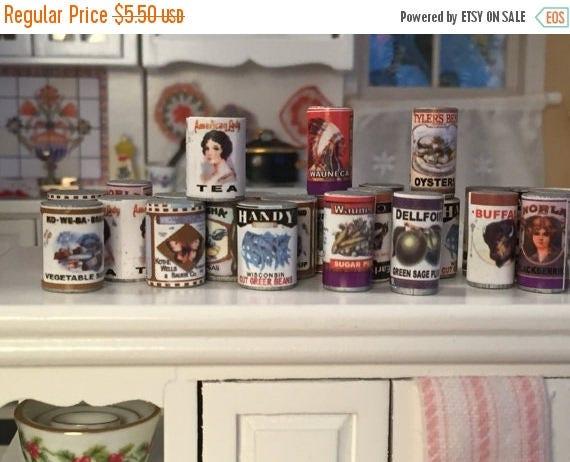 SALE Miniature Food Cans, Set of 24, Larder Tins, Dollhouse Miniature, 1:12 Scale, Dollhouse Food, Pantry Cupboard Cans, Miniature Food Cans