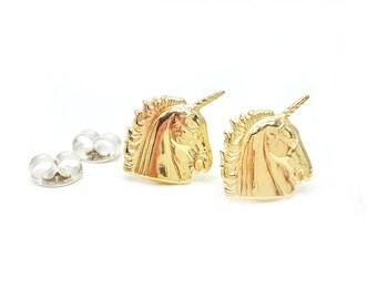 Unicorn Post Earrings // LanaBetty // Brass + Sterling Silver