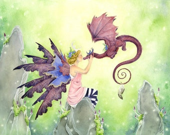 Fairy Art Watercolor Print - Giving Kisses - fantasy. dragon. whimsical. fine art. cute. fairy tale. pink. spring. fantastical.