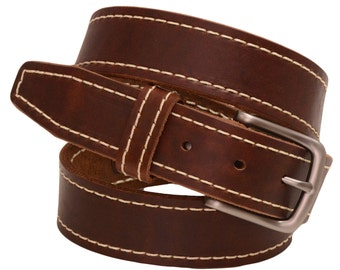 """Men's 1 3/8"""" Walnut Re-Tanned Leather Belt Contrast Decorative Stitching Natural Edge Square Tip Matte Buckle Made In America"""