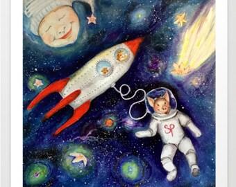 Super Pig in Space  Print