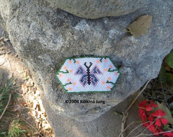 Native American Style Beaded Butterfly Barrette - Kilikina's Beadwork Original Design