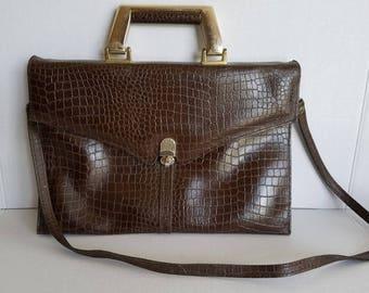 Vintage Italian Leather Vermillion Briefcase Style Shoulder Purse Bag