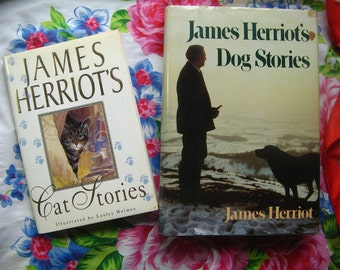 JAMES HERRIOT'S Cat & Dog STORIES, Set of 2 Hardback Books, Hardcover Books. Heartwarming Tales From an English Country Vet, Cats Dogs Pets