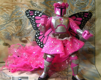 cm FAIRY FETT Customized Action Figure Figure 7.5 Inches Tall - Full Repaint of Jango Toy with New Wings, Skirt +, Star Wars Bounty Hunter