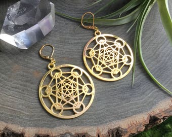 Sacred Geometry earrings, Metatrons Cube, The Flower of Life, sold per pair