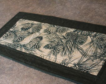 Green Pine Cones Lodge Boughs 12 1/2  X 24 1/2  Table Runner Topper