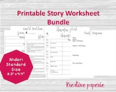 Story Worksheets Printable Traveler's Notebook Pages, Midori Inserts, Bullet Journal Standard Size