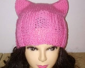 Pink Cat Ears Beanie Hat, Pussycat Beanie, Catears Hat,Pussy Cat Hat, Pink Hat, Ears Hat, Pussyhat, Nasty Woman, 21 day wait time