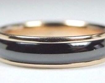 Tiffany & Co Lucida 18K Rose Gold + Titanium Wedding Band 4.5 MM Wide Finger Size 6.5