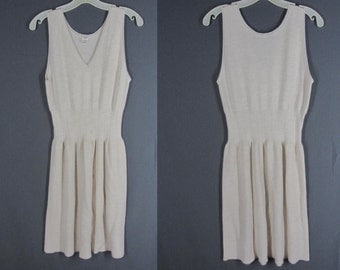 Vintage Winter Slip S Wool Blend Pointelle Knit Off White V-Neck Italy
