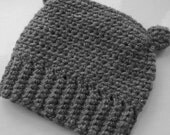 Newborn Baby 0-3 plus Grey Crocheted Hat Beanie with Ears