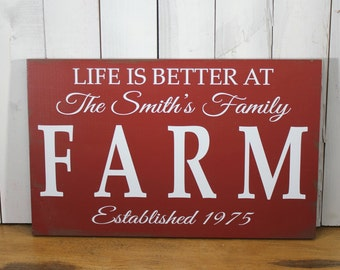 LIFE is Better at the FARM house Sign/Personalized/Large Sign/Wood Sign/Family Name/Established Date/Beach Decor/Farm Decor/Family Farm
