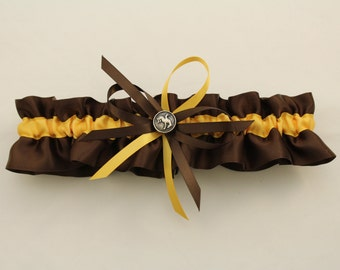 Brown and Gold Satin Wedding Keepsake Garter with Rodeo Charm